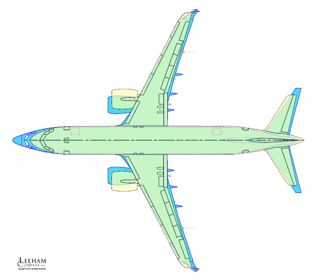 737 MAX8 overlaid with A320neo
